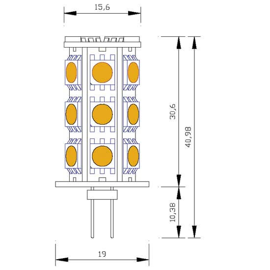 Ampoule 18 leds type 5050 smd 12 volts culot g4 - Different type d ampoule ...