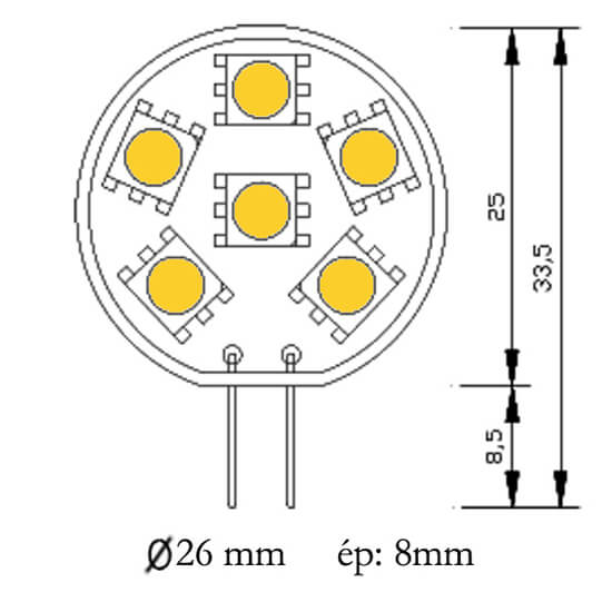 Ampoule 6 leds type 5050 smd 12 18 volts culot g4 - Different type d ampoule ...