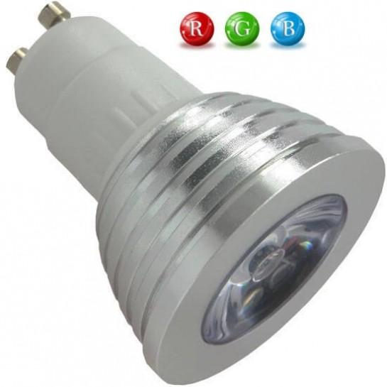 Ampoule LED GU10 RVB 3 Watts + télécommande IR