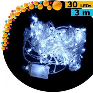 Cadeau : Guirlande lumineuse animée de 30 LEDs blanches - 3 mètres