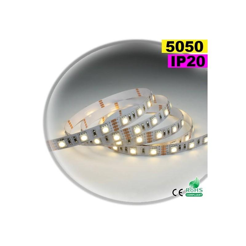 strip led blanc chaud smd 5050 ip20 60leds m. Black Bedroom Furniture Sets. Home Design Ideas