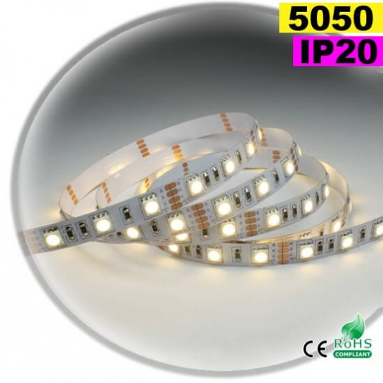 Strip Led blanc chaud SMD 5050 IP20 60leds/m 30m