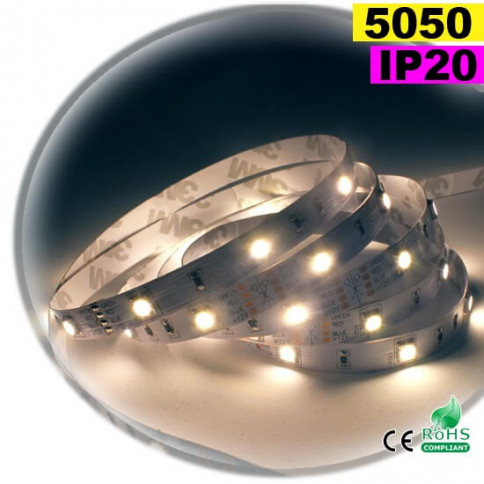Strip Led blanc chaud leger SMD 5050 IP20 30leds/m 30m