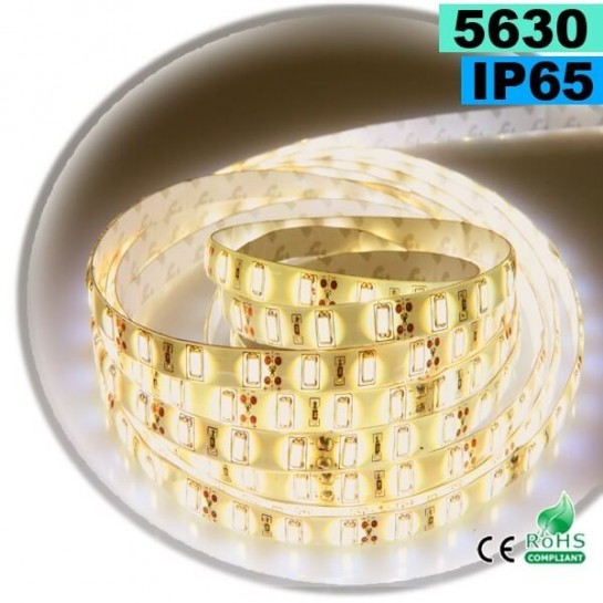 Strip Led blanc Chaud Léger SMD 5630 IP65 60 leds / m sur mesure