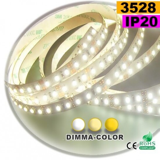 Strip Led dimma-color 3528 ip20 120leds/m 30 mètres
