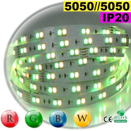 Strip LEDs RGB-WW IP20 - Double assemblage juxtaposer de LEDs 5050 5 mètres