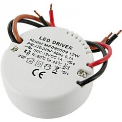 Alimentation LED transformateur compact Rond 12 watts 12 Volts