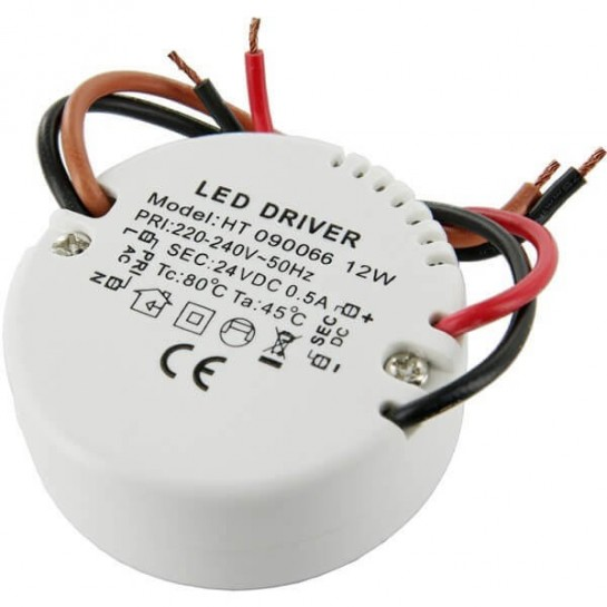 Alimentation LED transformateur compacte rond 12 watts - 24 Volts