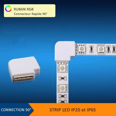 Connecteur rapide 4 pins 90° pour Strips LED RGB