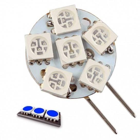 Ampoule 6 LED bleu type 5050 SMD 12 volts culot G4