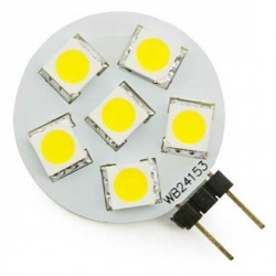 Ampoule 6 LED type 5050 SMD 10 à 15 volts culot G4