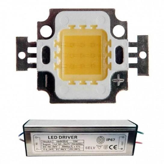 Lot Alimenation + LED Matriciel Chip on board de 10 watts
