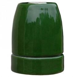 Douille E27 en porcelaine émaillée brillante coloris vert olive