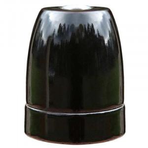 Douille E27 en porcelaine émaillée brillante coloris noir nacré