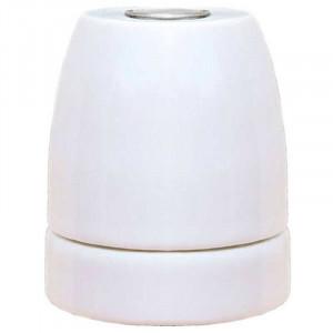 Douille E27 en porcelaine émaillée brillante coloris blanc nacre