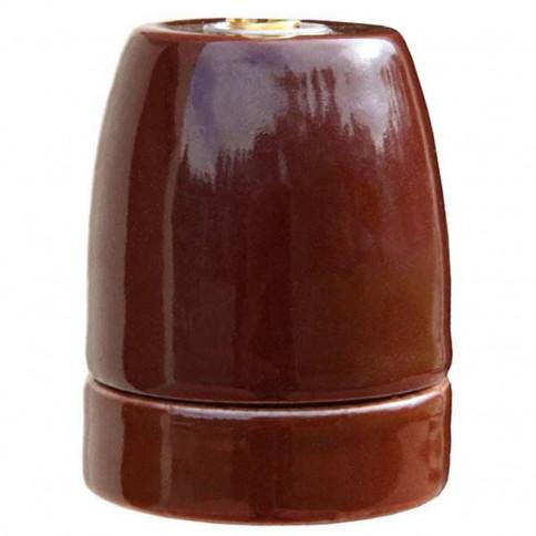 Douille E27 en porcelaine émaillée brillante coloris marron châtaigne