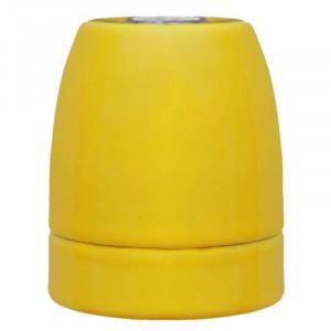 Douille E27 en porcelaine émaillée brillante coloris jaune indien