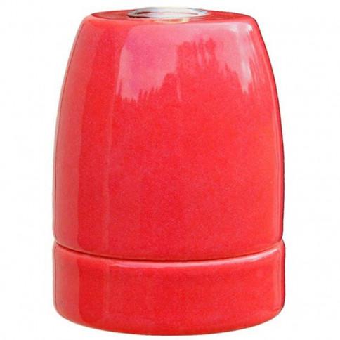 Douille E27 en porcelaine émaillée brillante coloris rosange