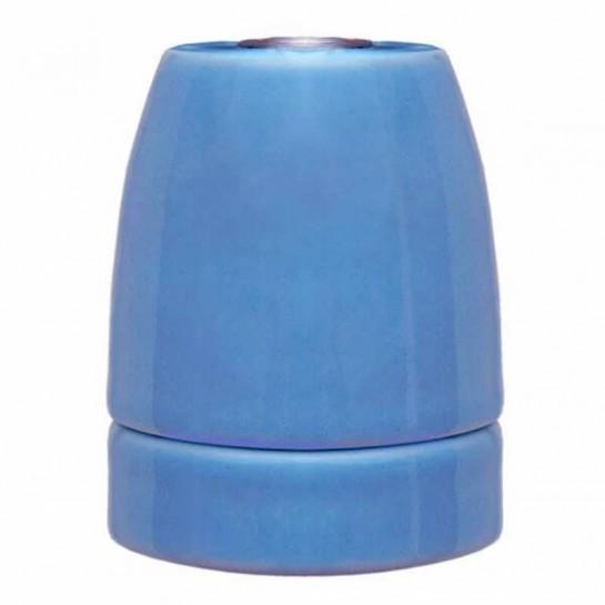 Douille E27 en porcelaine émaillée brillante coloris bleu France