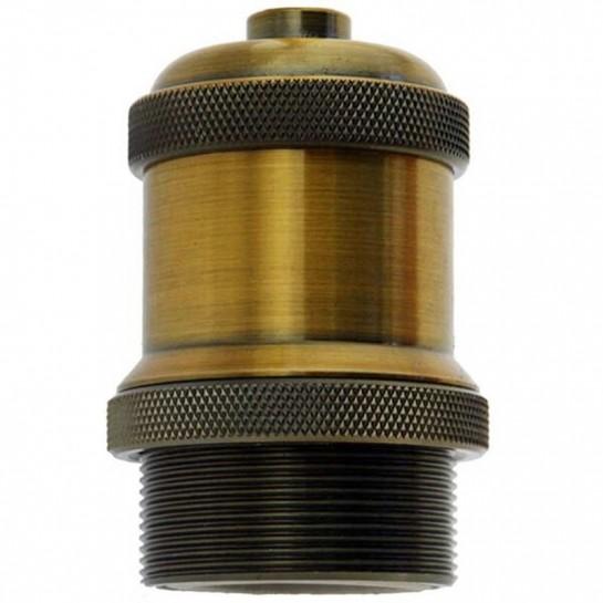 Douille E27 design vintage en bronze bague filetée longue Ø 42