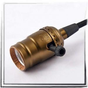 Douille à vis E27 bronze oxyde brun style vintage bouton rotatif