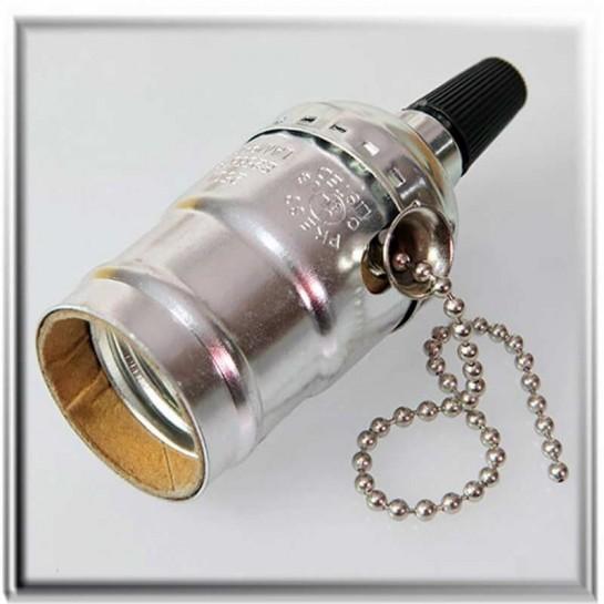 Douille à vis E27 gris antique style vintage avec interrupteur à chainette