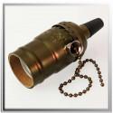 Douille à vis E27 bronze oxyde brun style vintage avec interrupteur à chainette