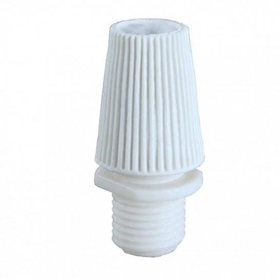 Serre câble électrique en plastique blanc pour douille de lampe ou rosace de plafond en filetage M10.