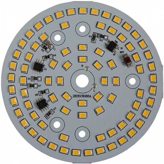 Platine AC LED 15 watts à alimentation transistorisé 230V - 78 LEDs 2835 - Ø 88 mm