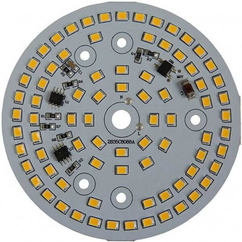 Platine AC LED 15 watts à alimentation transistorisé 230V - 78 LED 2835 - Ø 88 mm