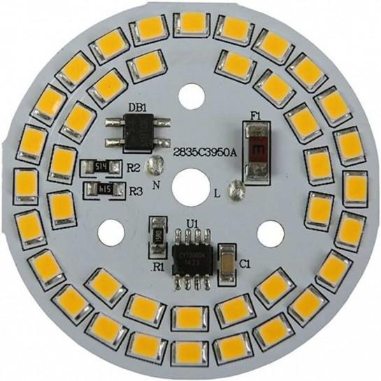 Platine AC LED 9 watts à alimentation transistorisé 230V - 39 LEDs 2835 - Ø 50 mm