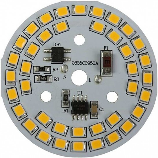 Platine AC LED 9 watts à alimentation transistorisé 230V - 39 LED 2835 - Ø 50 mm