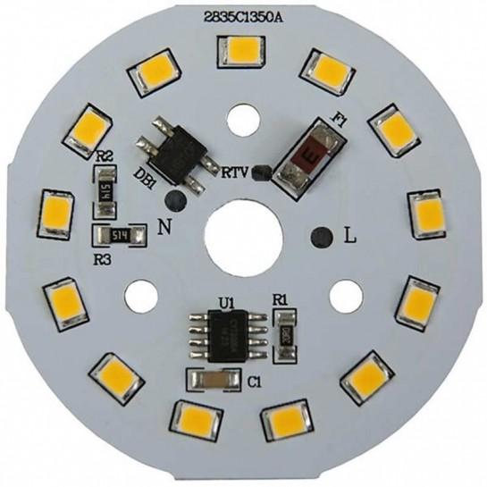 Platine AC LED 7 watts à alimentation transistorisé 230V - 13 LED 2835 - Ø 50 mm
