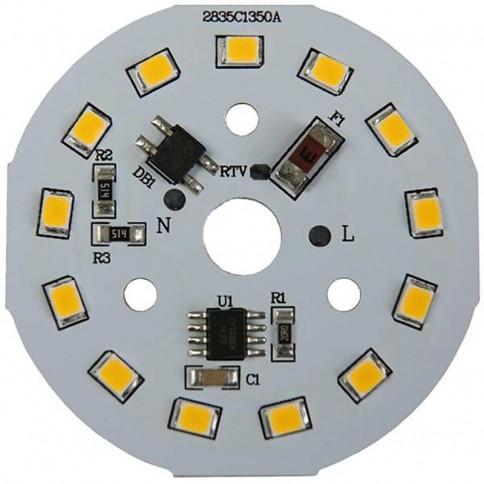 Platine AC LED 7 watts à alimentation transistorisé 230V - 13 LED 2835 - Ø 40 mm