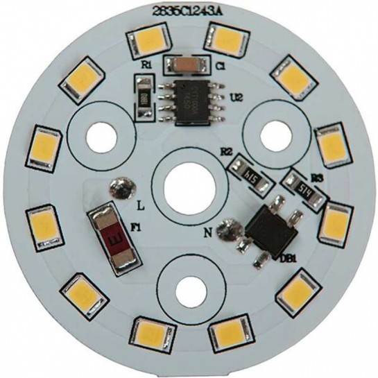 Platine AC LED 5 watts à alimentation transistorisé 230V - 12 LEDs 2835 - Ø 40 mm