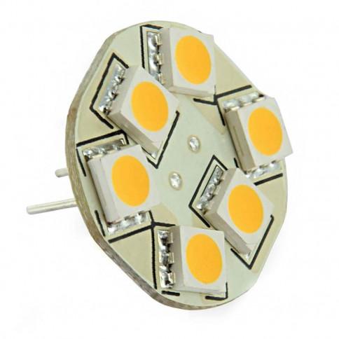 Ampoule 6 LED type 5050 SMD 10 à 30 volts culot G4 Coaxial