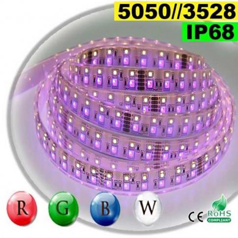Strip LEDs RGB-W IP68 - Double assemblage de LEDs 5050 et 3528 5 mètres