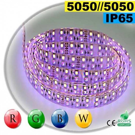Strip LEDs large RGB-WW de 20mm IP65 - Double assemblage de LEDs 5050 sur mesure