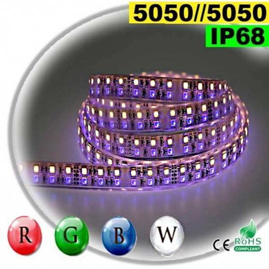 Strip LEDs large RGB-W de 20mm IP68 - Double assemblage de LEDs 5050 5 mètres