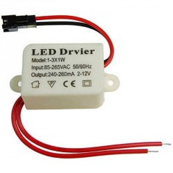 Boitier d'alimentation LED à courant constant de 3 watts 250 / 280 mA