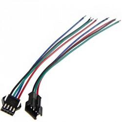 Connecteur mâle / femelle avec quatre câbles et détrompeur