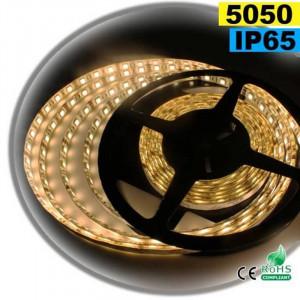 Strip 5 mètres éclairage blanc chaud léger - 60 leds / m SMD 5050 - IP65