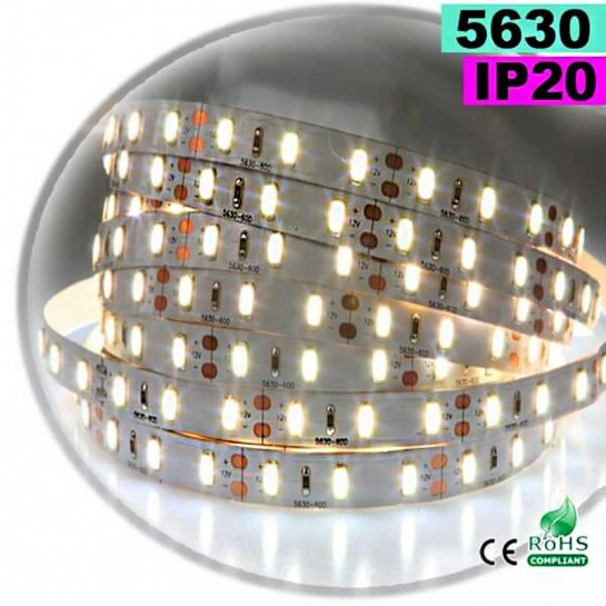 Strip Led blanc chaud leger SMD 5630 IP20 60leds/m 30 mètres