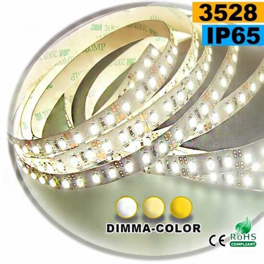Strip Led dimma-color 3528 ip65 120leds/m 30 mètres