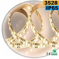 Strip Led blanc chaud leger SMD 3528 IP65 120leds/m 5 mètres