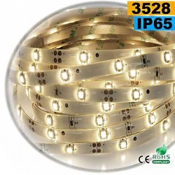 Strip Led blanc chaud leger SMD 3528 IP65 30leds/m 5m