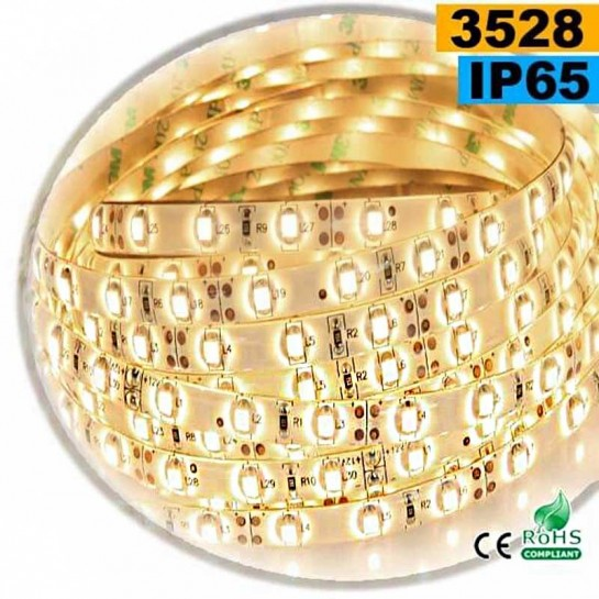 Strip Led blanc chaud leger SMD 3528 IP65 60leds/m sur mesure
