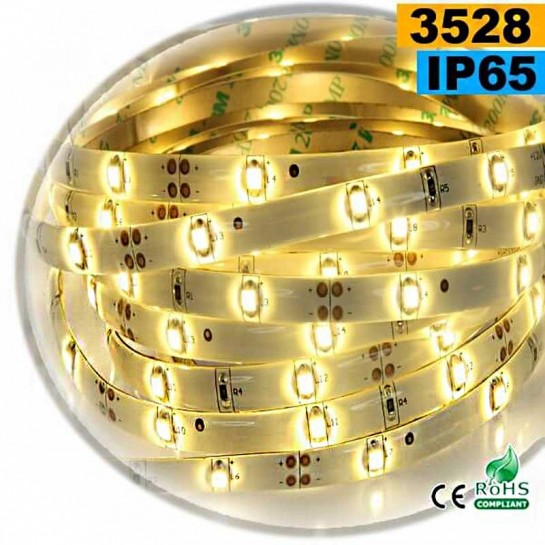 Strip Led blanc chaud SMD 3528 IP65 30leds/m sur mesure