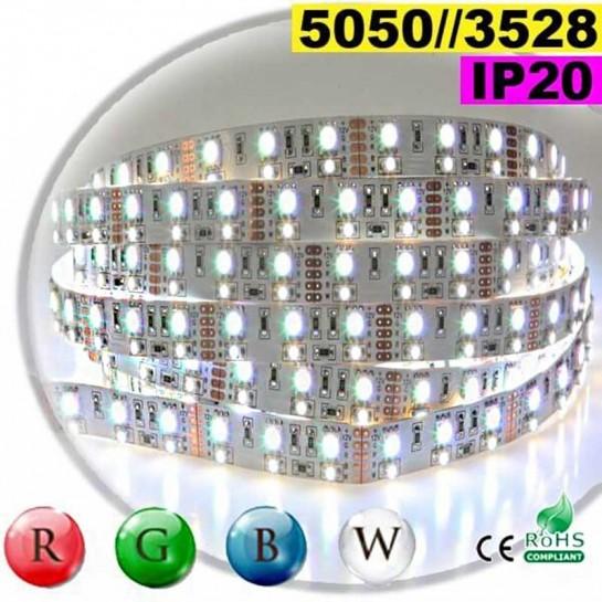 Strip LEDs RGB-W IP20 - Double assemblage de LEDs 5050 et 3528 30 mètres