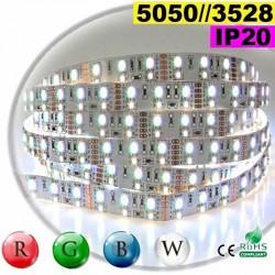 Strip LEDs RGB-W IP20 - Double assemblage de LEDs 5050 et 3528 5 mètres